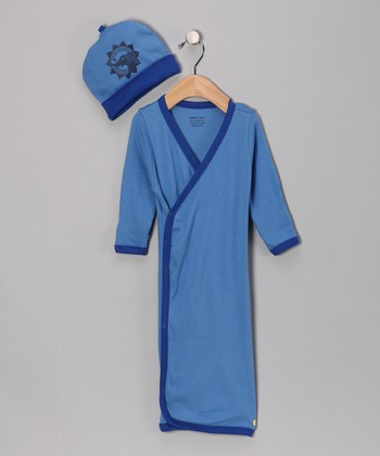 Blue Elephant Organic Wrap Gown & Beanie - Infant