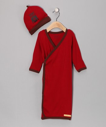 Red Peace Owl Organic Wrap Gown & Beanie - Infant