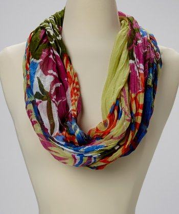 Olive Abstract Infinity Scarf