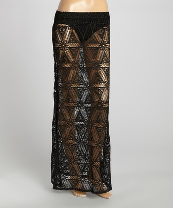Black Slit Crocheted Swim Cover Maxi Skirt
