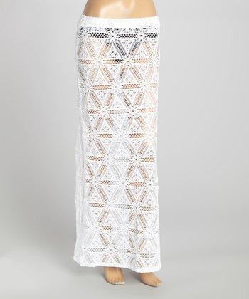 White Slit Crocheted Swim Cover Maxi Skirt