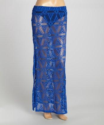 Cobalt Slit Crocheted Swim Cover Maxi Skirt