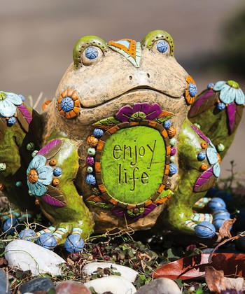 Brown & Green 'Enjoy Life Frog' Statuary
