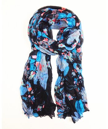 Black & Blue Floral Scarf