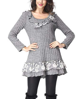 Gray Floral Lace-Trim Scoop Neck Sweater