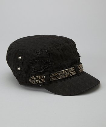 Black Studded Distressed Cadet Cap