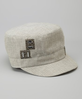 Gray Embellished Jockey Cap