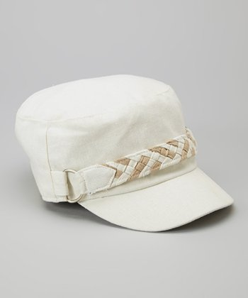 Off-White Braided Band Linen-Blend Cadet Cap