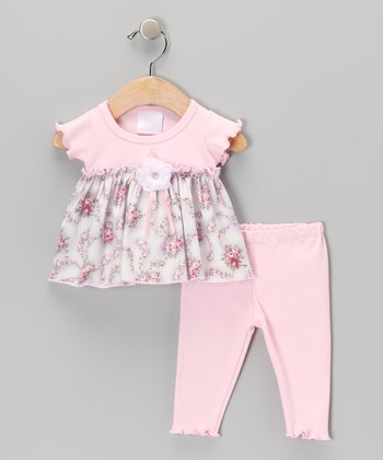 Too Sweet Rose & Lavender Floral Tunic & Leggings - Infant