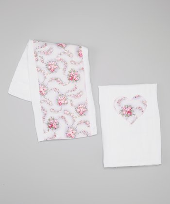 Lavender Floral Burp Cloth Set