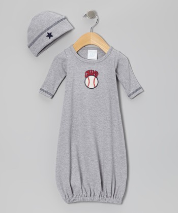 Gray 'Champ' Baseball Gown & Beanie - Infant