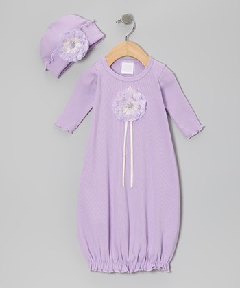 Lavender Beaded Flower Gown & Beanie