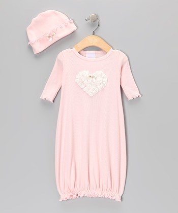 Blush Heart Gown & Beanie - Infant