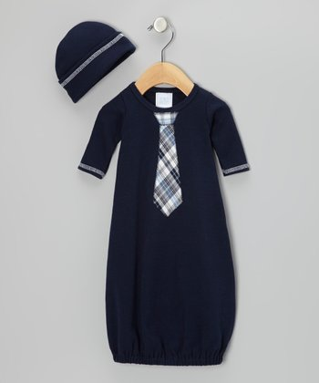 Navy Plaid Tie Gown & Beanie - Infant