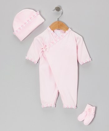 Too Sweet Rose Bow Kimono Playsuit Set - Infant