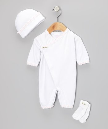 Too Sweet White Flower Kimono Playsuit Set - Infant
