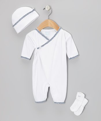White & Navy Kimono Braid Playsuit Set - Infant