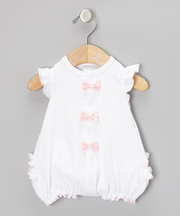 Too Sweet White & Pink Bow Ruffle Romper - Infant