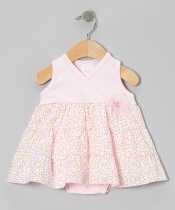 Too Sweet Rose Dot Tiered Surplice Skirted Bodysuit - Infant