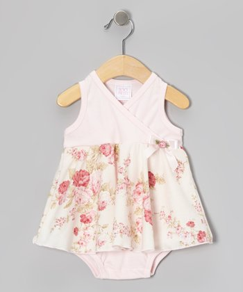 Too Sweet Pink Floral Surplice Skirted Bodysuit - Infant