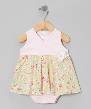 Too Sweet Green Rose Surplice Skirted Bodysuit - Infant