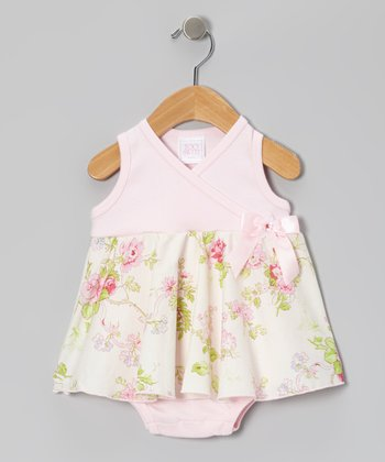 Too Sweet Rose Floral Surplice Skirted Bodysuit - Infant