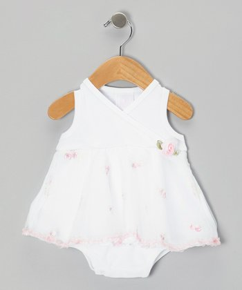Too Sweet White Flower Swirl Dress - Infant