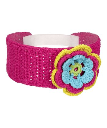 Pink Flower Crocheted Headband