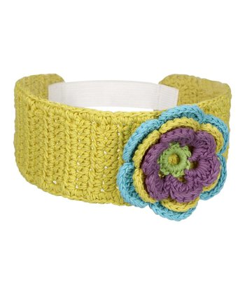 Yellow Flower Crocheted Headband