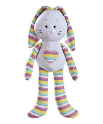 Blue Rainbow Stripe Heart Bunny Plush Toy
