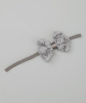 Gray Rosette Bow Headband