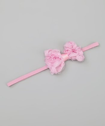 Light Pink Rosette Bow Headband