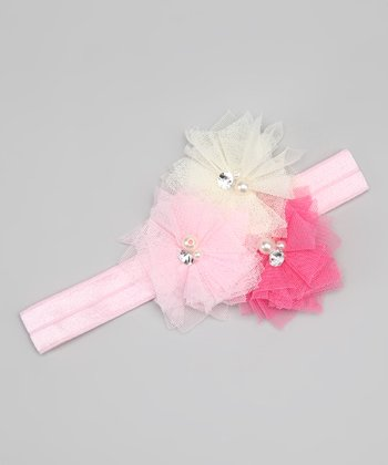 Pink & White Fairy Dust Flower Headband