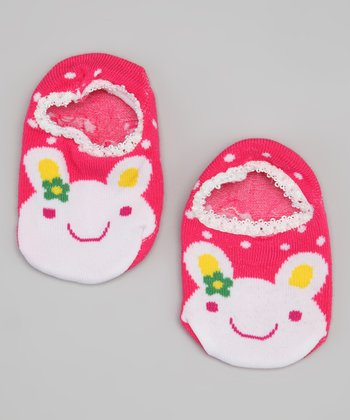 Hot Pink Polka Dot Bunny Slipper Socks