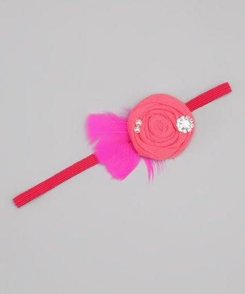 Coral & Hot Pink Feather Flower Headband