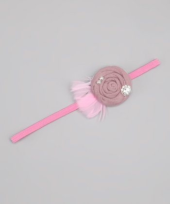 Mauve Feather Flower Headband