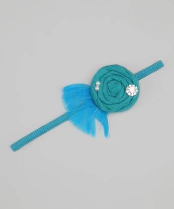 Turquoise Feather Flower Headband
