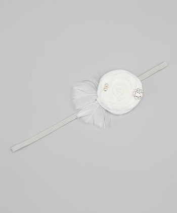 White Feather Flower Headband