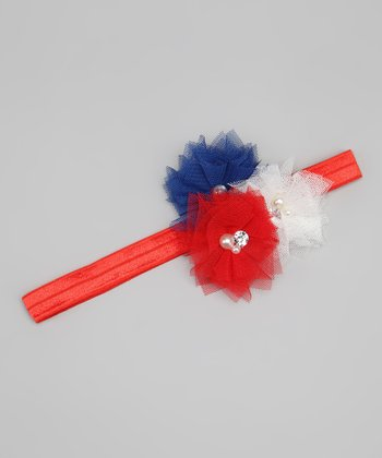 Red & Blue Flower Headband