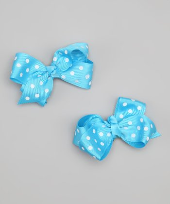 Blue & White Polka Dot Bow Clip Set