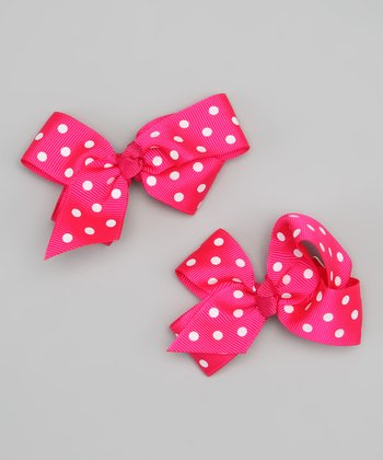 Hot Pink & White Polka Dot Bow Clip Set