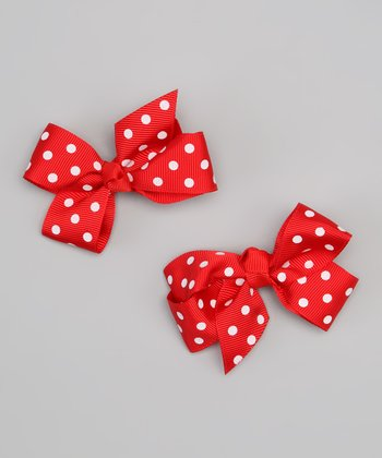 Red & White Polka Dot Bow Clip Set