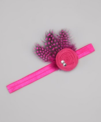 Hot Pink Flower Feather Headband