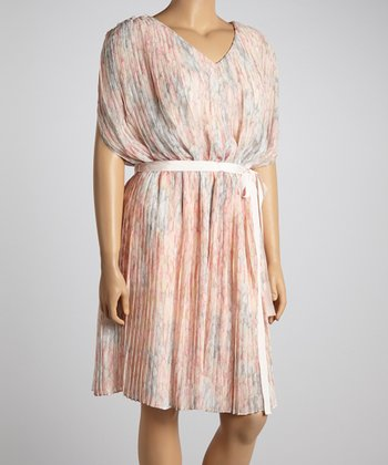 Jessica Simpson Collection Apricot Watercolor Pleated Cape-Sleeve Dress - Plus
