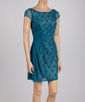 Blue Ruched Lace Cap-Sleeve Dress - Women