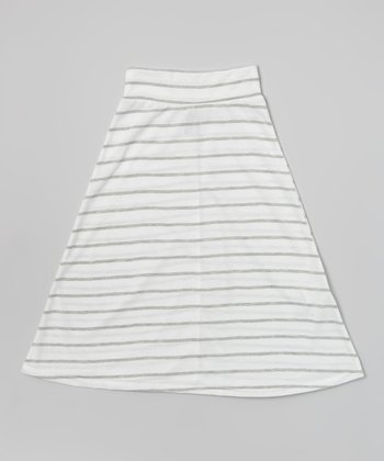 Ivory & Heather Gray Stripe Maxi Skirt - Girls