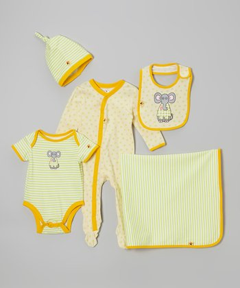 Green & Yellow Elephant Five-Piece Layette Set - Infant