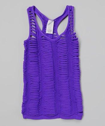 Malibu Sugar Neon Purple Slashed Tank - Girls
