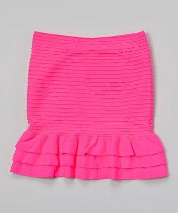 Malibu Sugar Neon Fuchsia Ribbed Ruffle Skirt - Girls
