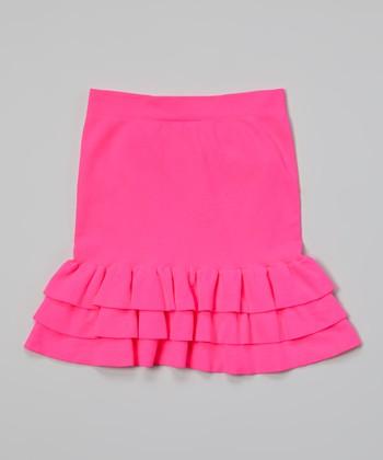 Malibu Sugar Neon Fuchsia Ruffle Skirt - Girls